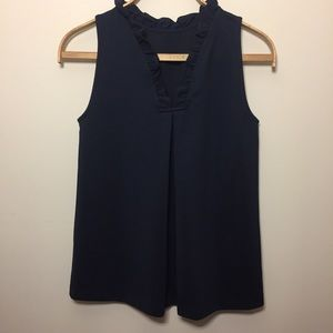Ann Taylor sleeveless top. Navy Blue. Sz S
